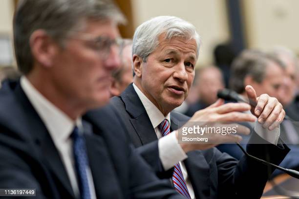 Jamie Dimon chief executive officer of JPMorgan Chase Co speaks during a House Financial Services Committee hearing in Washington DC US on Wednesday...