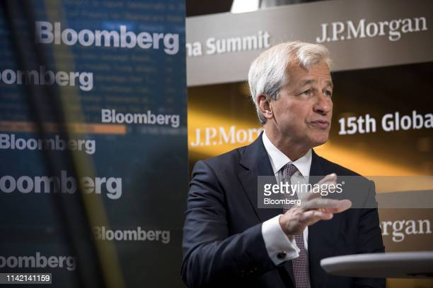 Jamie Dimon chief executive officer of JPMorgan Chase Co speaks during a Bloomberg Television interview on the sidelines of the JP Morgan Global...