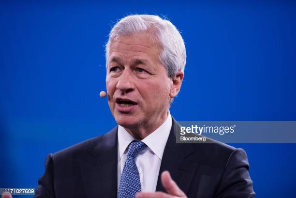 Jamie Dimon chief executive officer of JPMorgan Chase Co speaks during the Bloomberg Global Business Forum in New York US on Wednesday Sept 25 2019...
