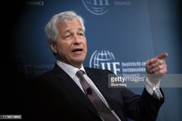 Jamie Dimon chief executive officer of JPMorgan Chase Co speaks during the Institute of International Finance annual membership meeting in Washington...
