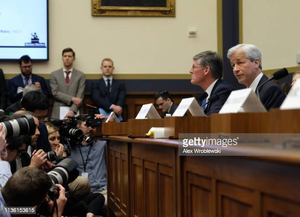 Jamie Dimon chief executive officer of JPMorgan Chase Co testifies during a House Financial Services Committee hearing on April 10 2019 in Washington...