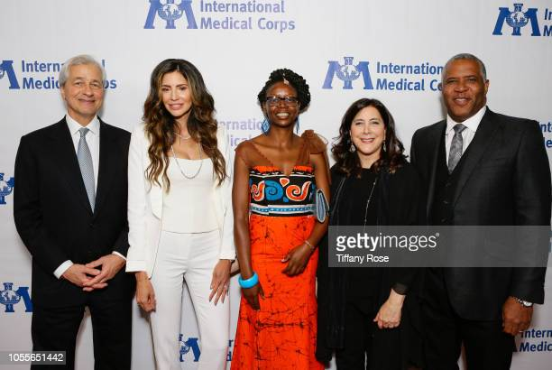 Jamie Dimon Hope Smith Marylyne Malomba Nancy Aossey and Robert Smith attend the International Medical Corps Annual Awards Celebration on October 30...