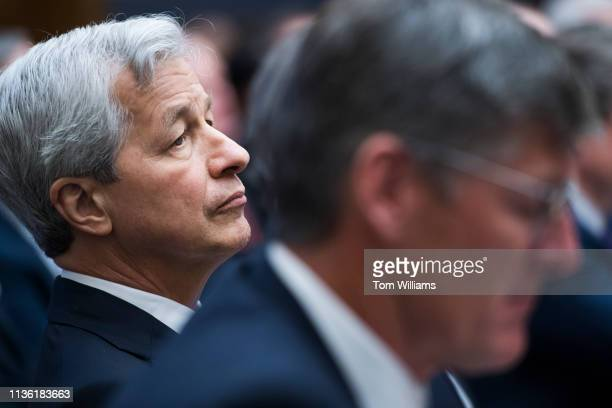 Jamie Dimon left CEO of JPMorgan Chase and Michael Corbat CEO of Citigroup testify during a House Financial Services Committee hearing in Rayburn...
