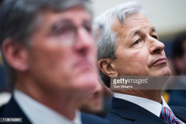 Jamie Dimon right CEO of JPMorgan Chase and Michael Corbat CEO of Citigroup testify during a House Financial Services Committee hearing in Rayburn...