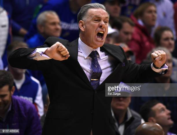 Jamie Dixon head coach of the TCU Horned Frogs directs his team against the Kansas Jayhawks at Allen Fieldhouse on February 6 2018 in Lawrence Kansas