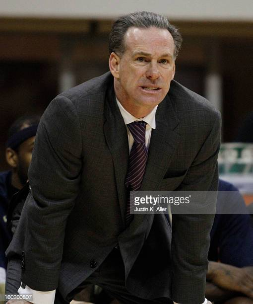 Jamie Dixon of the Pittsburgh Panthers handles the ball against the DePaul Blue Demons at Petersen Events Center on January 26, 2013 in Pittsburgh,...