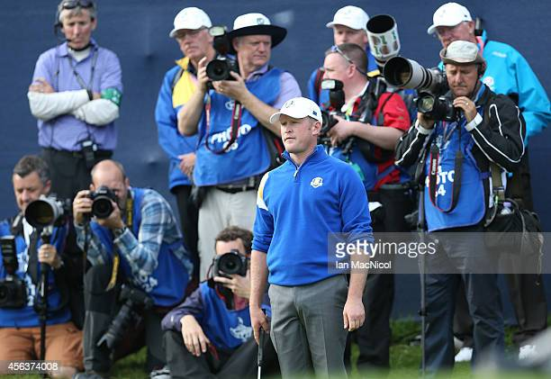 Jamie Donaldson in action during the Singles Matches of the 2014 Ryder Cup on the PGA Centenary course at the Gleneagles Hotel on September 28 2014...