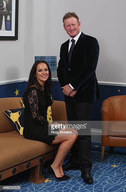Jamie Donaldson of Europe and his partner Kathryn Tagg pose for a photograph at the Gleneagles Hotel before leaving for the Ryder Cup Team Gala...
