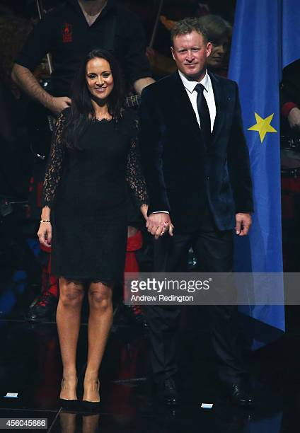 Jamie Donaldson of Europe and partner Kathryn Tagg appear on stage during the 2014 Ryder Cup Gala Concert at the SSE Hydro on September 24 2014 in...