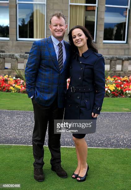 Jamie Donaldson of Europe and partner Kathryn Tagg pose after the Opening Ceremony ahead of the 40th Ryder Cup at Gleneagles on September 25 2014 in...