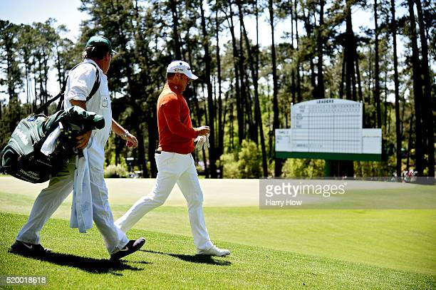 Jamie Donaldson of Wales and caddie Michael Mick Donaghy walk from the fourth tee during the third round of the 2016 Masters Tournament at Augusta...