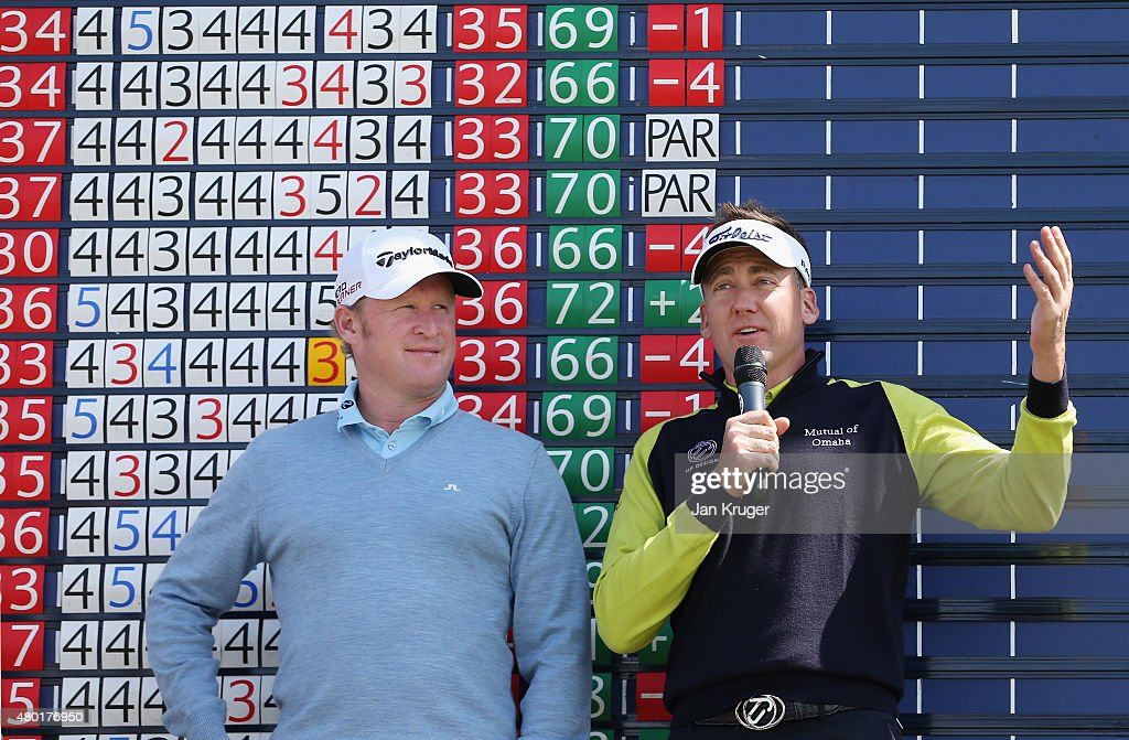 Jamie Donaldson of Wales and Ian Poulter of England talk to fans during a session of 'Carter's Questions with Jamie Donaldson' held during the first round of the Aberdeen Asset Management Scottish Open at Gullane Golf Club on July 9, 2015 in Gullane, Scotland.