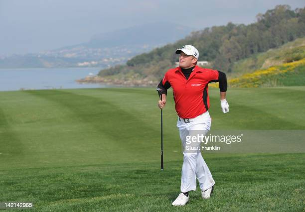 Jamie Donaldson of Wales chases after his shot during the second round of the Sicilian Open at Verdura Golf and Spa Resort on March 30 2012 in...