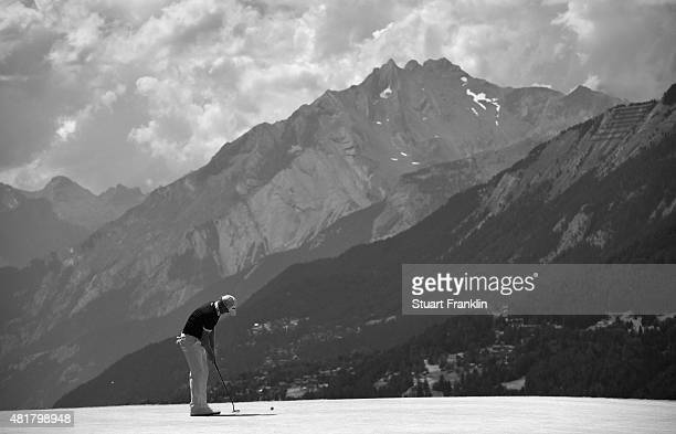 Jamie Donaldson of Wales during the second round of the Omega European Masters at CranssurSierre Golf Club on July 24 2015 in CransMontana Switzerland