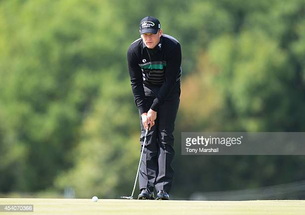 Jamie Donaldson of Wales lines up his putt on the 3rd green during day four of DD REAL Czech Masters at Albatross Golf Resort on August 24 2014 in...