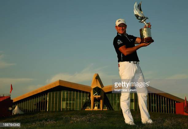 Jamie Donaldson of Wales pictured after winning the Abu Dhabi HSBC Golf Championship at Abu Dhabi Golf Club on January 20 2013 in Abu Dhabi United...