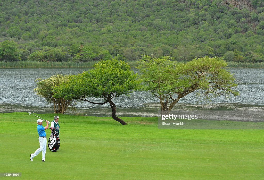 Jamie Donaldson of Wales plays a shot during the second round of the Nedbank Golf Challenge at Gary Player CC on December 6, 2013 in Sun City, South Africa.