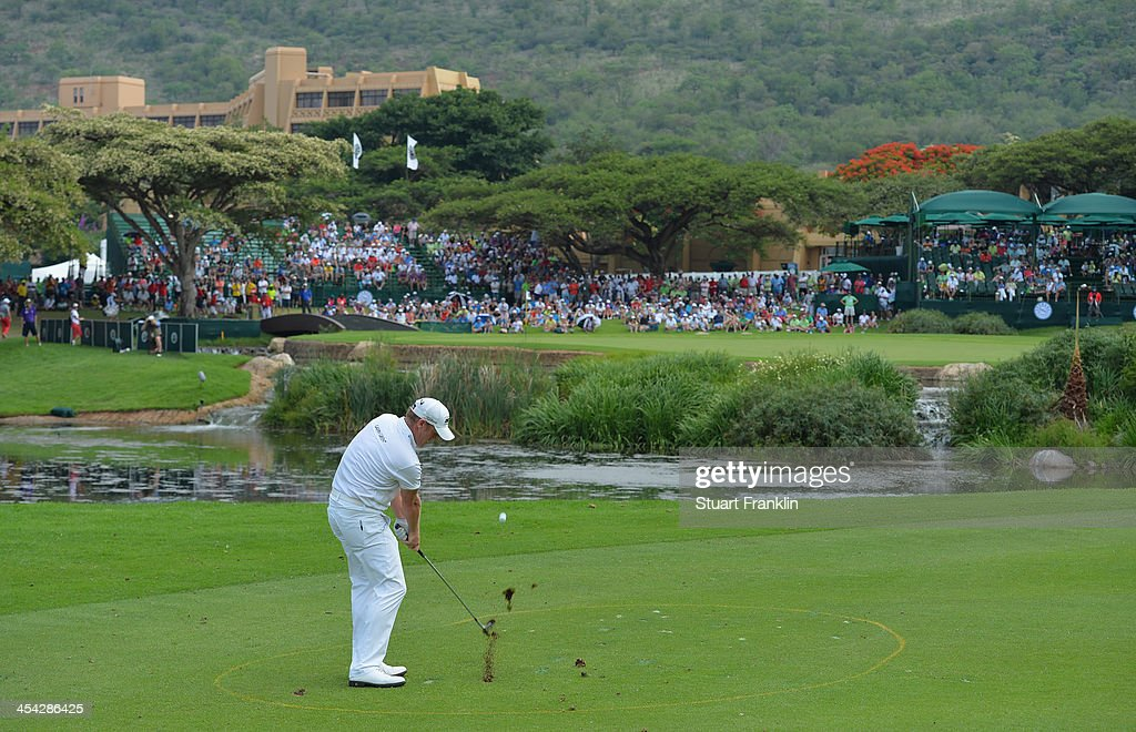 Jamie Donaldson of Wales plays a shot on the nineth hole during the final round of the Nedbank Golf Challenge at Gary Player CC on December 8, 2013 in Sun City, South Africa.