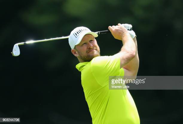Jamie Donaldson of Wales plays a tractice round ahead of the BMW South African Open Championship at Glendower Golf Club on January 10 2018 in...