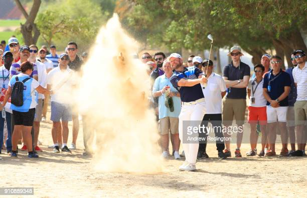 Jamie Donaldson of Wales plays his second shot on the 2nd hole during day three of Omega Dubai Desert Classic at Emirates Golf Club on January 27...