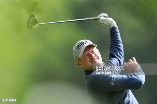 Jamie Donaldson of Wales plays his shot off the 16th tee during Day One of the Belgian Knockout at the Rinkven International Golf Club on May 17 2018...