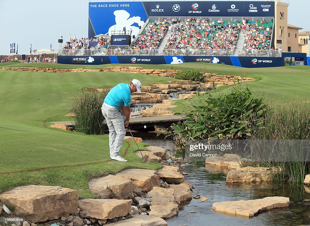 Jamie Donaldson of Wales plays his third shot at the par 5, 18th hole during the second round of the 2012 DP World Tour Championship on the Earth Course at Jumeirah Golf Estates on November 23, 2012 in Dubai, United Arab Emirates.