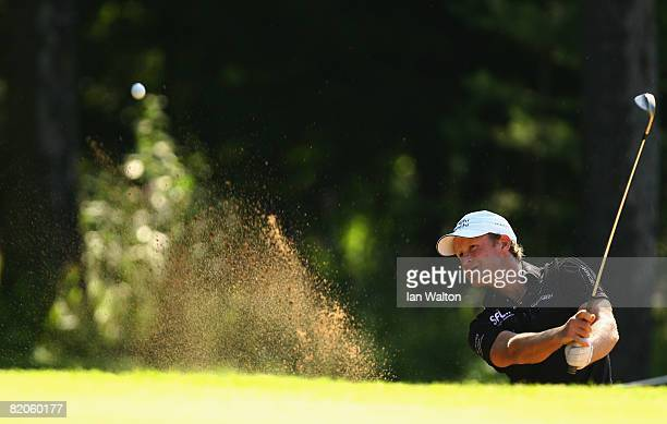 Jamie Donaldson of Wales plays out of the bunker on the 2nd hole during the Second Round of the Inteco Russian Open Championship at the Moscow...
