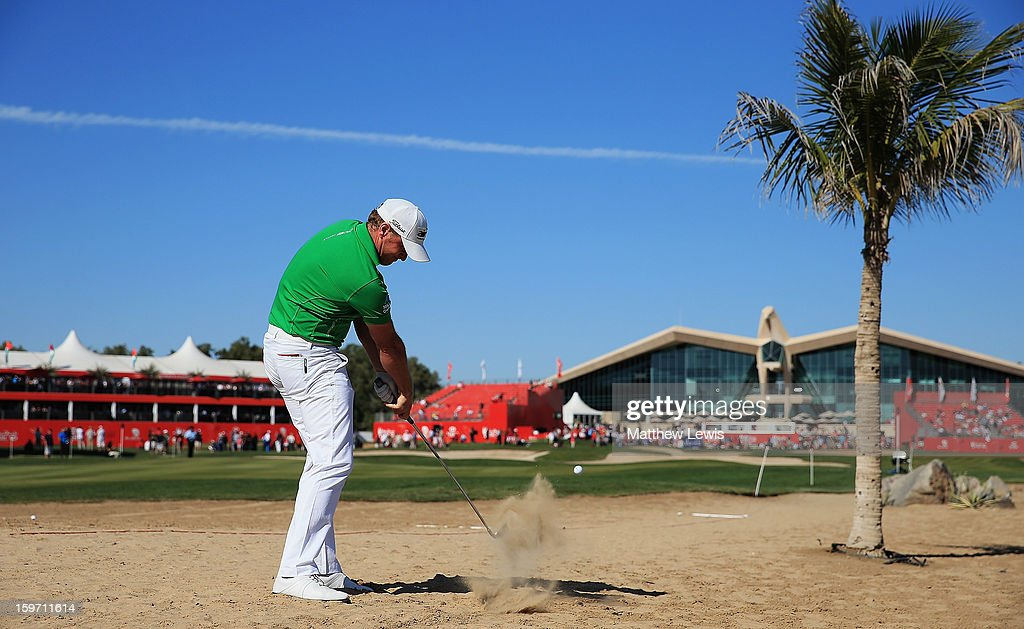 Jamie Donaldson of Wales plays out of the rough on the 9th hole during day three of the Abu Dhabi HSBC Golf Championship at Abu Dhabi Golf Club on January 19, 2013 in Abu Dhabi, United Arab Emirates.
