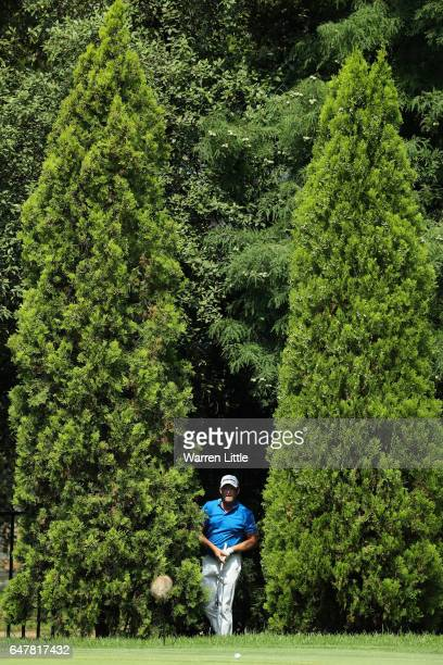 Jamie Donaldson of Wales plays outof the trees on the 12th green during the third round of the Tshwane Open at Pretoria Country Club on March 4 2017...