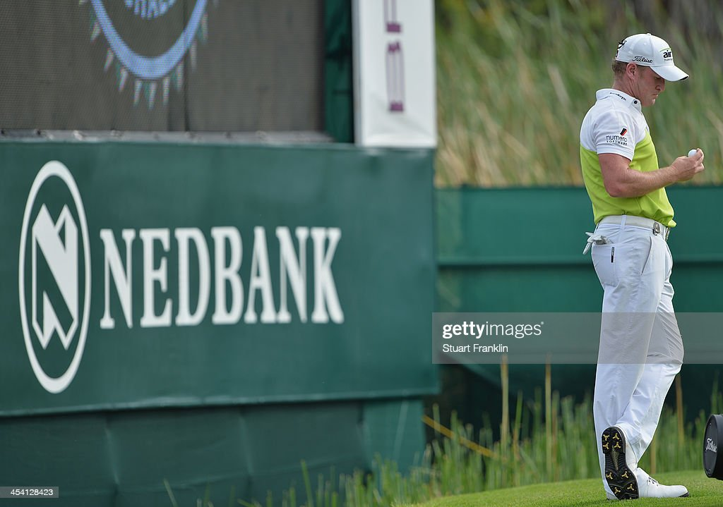 Jamie Donaldson of Wales ponders during the third round of the Nedbank Golf Challenge at Gary Player CC on December 7, 2013 in Sun City, South Africa.