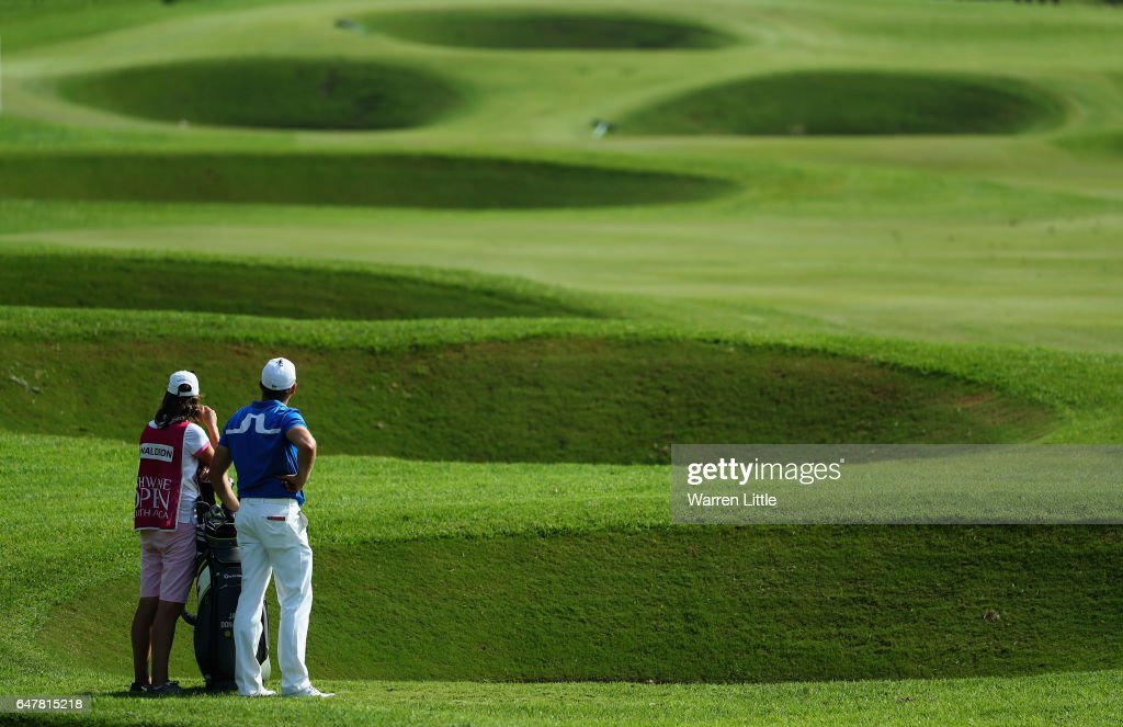 Jamie Donaldson of Wales prepares to play his second shot into the 18th green during the third round of the Tshwane Open at Pretoria Country Club on March 4, 2017 in Pretoria, South Africa.