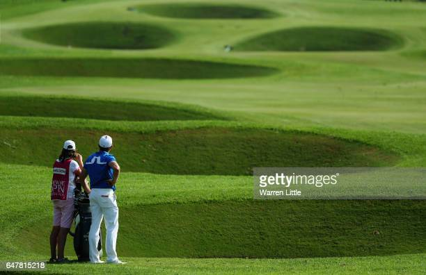 Jamie Donaldson of Wales prepares to play his second shot into the 18th green during the third round of the Tshwane Open at Pretoria Country Club on...