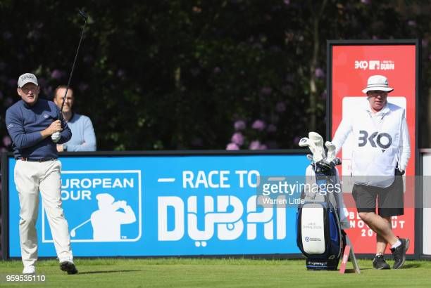 Jamie Donaldson of Wales prepares to tee off the 1st hole during the first round of the Belgian Knockout at the Rinkven International Golf Club on...