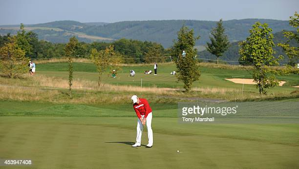 Jamie Donaldson of Wales putts on the 12th green during day two of DD REAL Czech Masters at Albatross Golf Resort on August 22 2014 in Prague Czech...