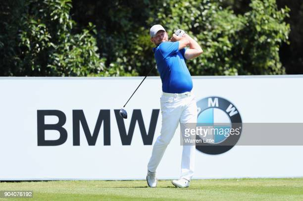 Jamie Donaldson of Wales tees off on the 4th hole during day two of the BMW South African Open Championship at Glendower Golf Club on January 12 2018...
