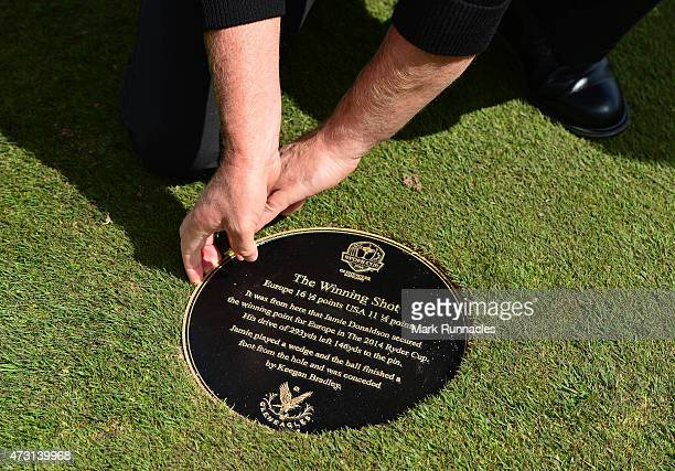 Jamie Donaldson of Wales unveils the Ryder Cup Moment of Victory Plaque on the 15th fairway on the The Gleneagles PGA Centenary Course on May 13 2015...
