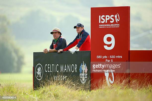 Jamie Donaldson of Wales with his caddy Mick Donaghy during the ProAm for the ISPS Handa Wales Open at Celtic Manor Resort on September 17 2014 in...