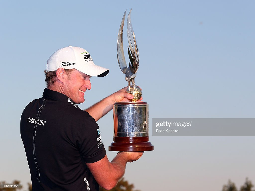 Jamie Donaldson of Wales with the winners trophy after the final round of the Abu Dhabi HSBC Golf Championship at the Abu Dhabi Golf Club on January 20, 2013 in Abu Dhabi, United Arab Emirates.