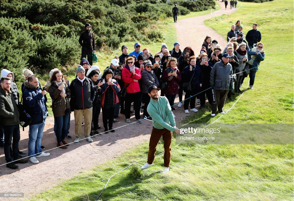 Jamie Dornan, Actor plays a from the rough on the 5th during day one of the 2017 Alfred Dunhill Championship at The Old Course on October 5, 2017 in St Andrews, Scotland.