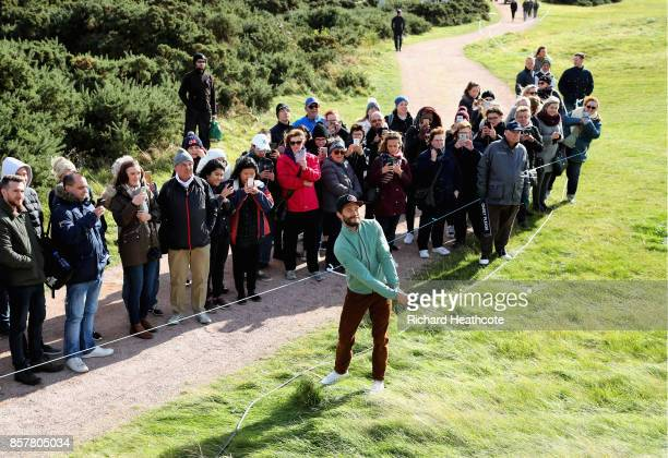 Jamie Dornan Actor plays a from the rough on the 5th during day one of the 2017 Alfred Dunhill Championship at The Old Course on October 5 2017 in St...