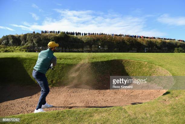 Jamie Dornan Actor plays his second shot on the 13th during day three of the 2017 Alfred Dunhill Championship at Kingsbarns on October 7 2017 in St...