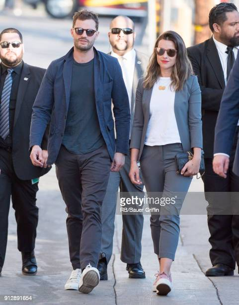 Jamie Dornan and Amelia Warner are seen at 'Jimmy Kimmel Live' on January 31 2018 in Los Angeles California
