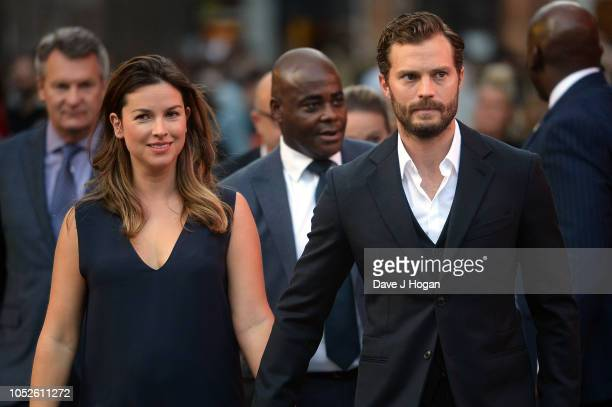 Jamie Dornan and Amelia Warner attend the European Premiere of 'A Private War' Mayor of London gala during the 62nd BFI London Film Festival on...