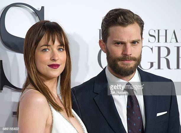 Jamie Dornan and Dakota Johnson arriving at the UK Premiere of 'Fifty Shades Of Grey' at the Odeon Leicester Square in London