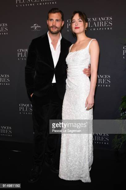 Jamie Dornan and Dakota Johnson attend 'Fifty Shades Freed 50 Nuances Plus Claires' Premiere at Salle Pleyel on February 6 2018 in Paris France