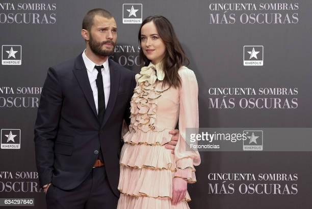 Jamie Dornan and Dakota Johnson attend the 'Fifty Shades Darker' premiere at Kinepolis Cinema on February 8 2017 in Madrid Spain