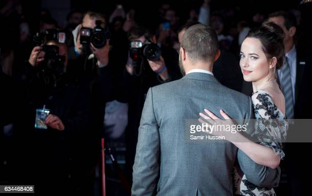 Jamie Dornan and Dakota Johnson attend the 'Fifty Shades Darker' UK Premiere on February 9 2017 in London United Kingdom