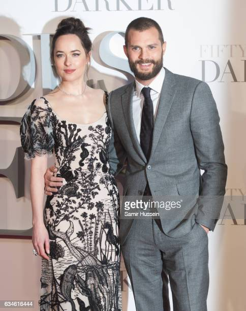 Jamie Dornan and Dakota Johnson attend the Fifty Shades Darker UK Premiere on February 9 2017 in London United Kingdom
