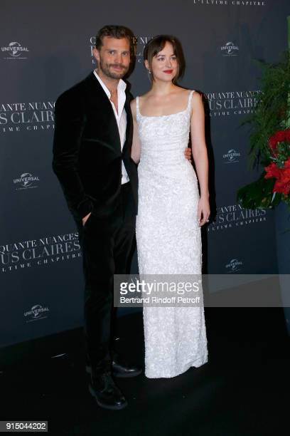 Jamie Dornan and Dakota Johnson attend the 'Fifty Shades Freed 50 Nuances Plus Clair' Paris Premiere at Salle Pleyel on February 6 2018 in Paris...
