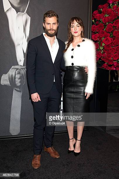 "Jamie Dornan and Dakota Johnson attend the ""Fifty Shades of Grey"" Fan First Screening at Ziegfeld Theatre on February 6, 2015 in New York City."